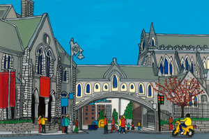 Illustration of Christchurch Cathedral in Dublin