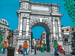 Illustration of Fusiliers Arch in St Stephens Green in Dublin