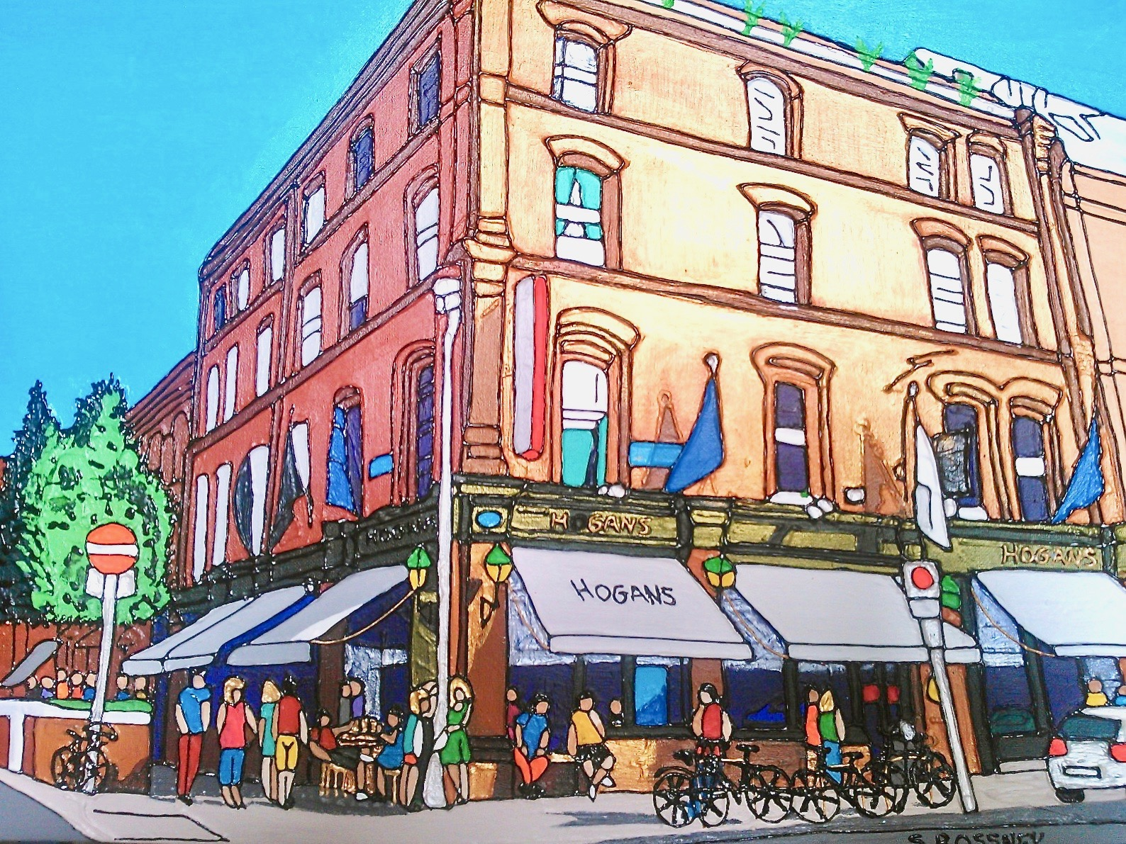 Illustration of Hogan's Bar in Dublin