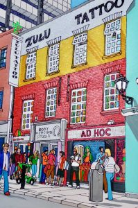 An illustration of a Dublin Streetscene