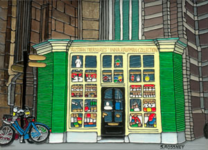 Illustration of The Russian Doll Shop in Amsterdam
