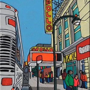 Illustration of a tour bus outside The Apollo Theatre in New York