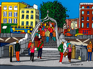 Illustration of The Ha'Penny Bridge in Dublin