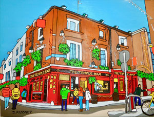 Illustration of The Temple Bar in Dublin