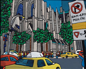Illustration of a yellow cab outside St Patrick's Cathedral in New York