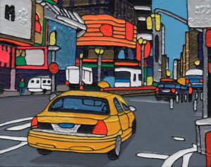 Illustration of Yellow Cab in Times Square in New York